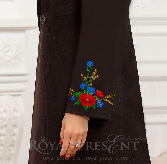 Эстонский Дизайн машинной вышивки Букет маки и васильки