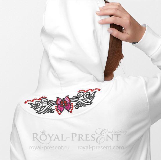 Дизайн машинной вышивки Бабочка тату
