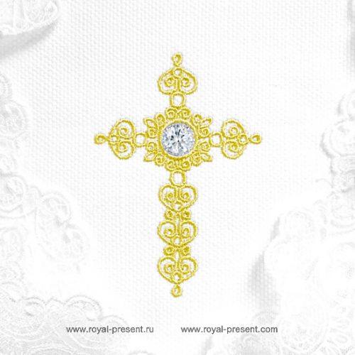 Дизайн машинной вышивки Крестик для крестин со стразами