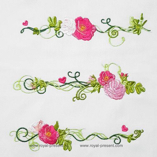 Набор дизайнов машинной вышивки Чайные розы