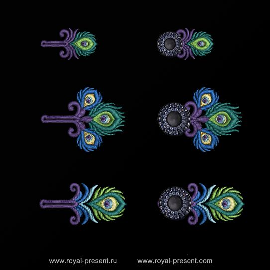 Набор дизайнов вышивки Петли для пуговиц Павлин