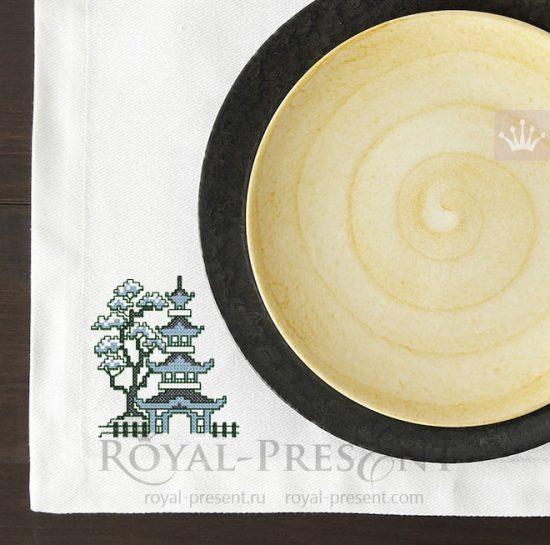 Дизайн машинной вышивки крестом бесплатно Китайская пагода