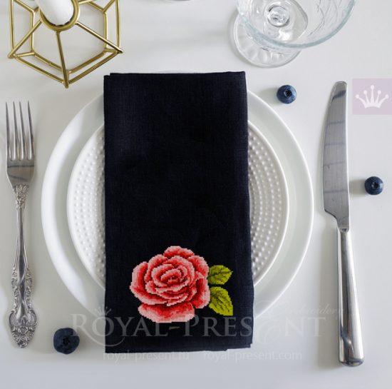 Дизайн для машинной вышивки крестом Одинокая роза