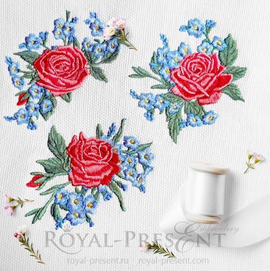 Дизайны машинной вышивки Три букетика розы и незабудки