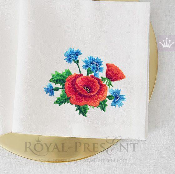 Дизайн машинной вышивки Маки с васильками