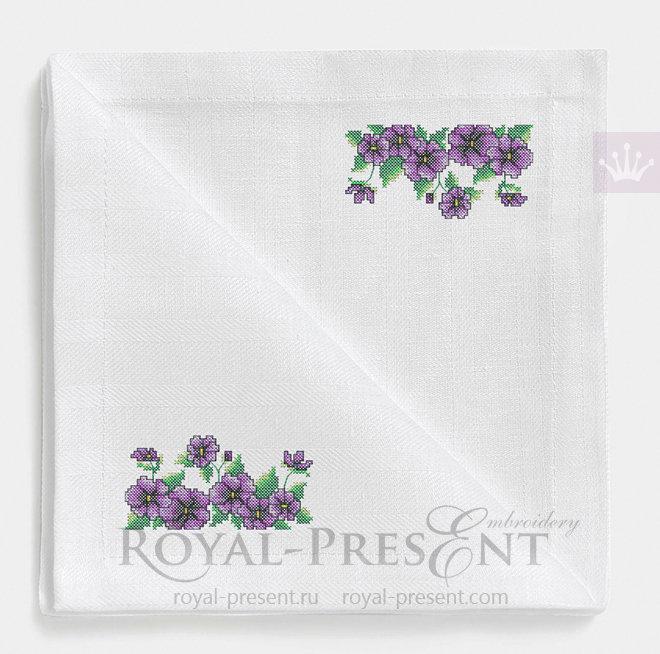 Дизайн для машинной вышивки крестом Сиреневые цветочки