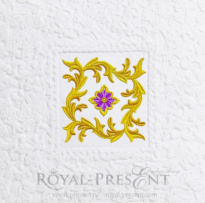 Дизайн машинной вышивки Орнамент Золотые Листья