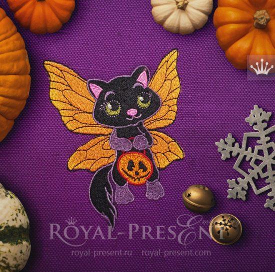 Дизайн машинной вышивки Кошка Хэллоуин