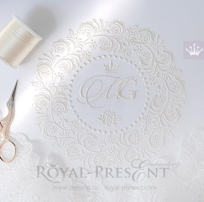 Дизайн машинной вышивки Свадебная рамка