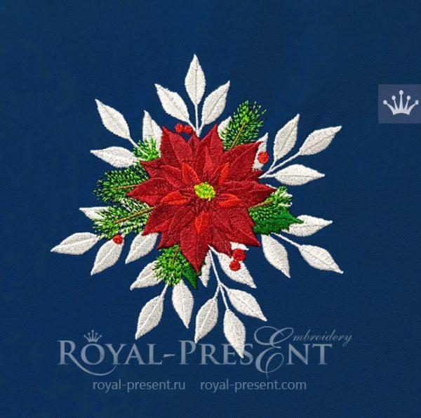 Дизайн машинной вышивки Рождественская Пуансетия