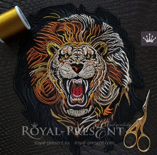 Дизайн машинной вышивки Свирепый Лев