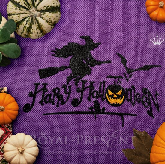 Дизайн для машинной вышивки Ведьма Хэллоуин