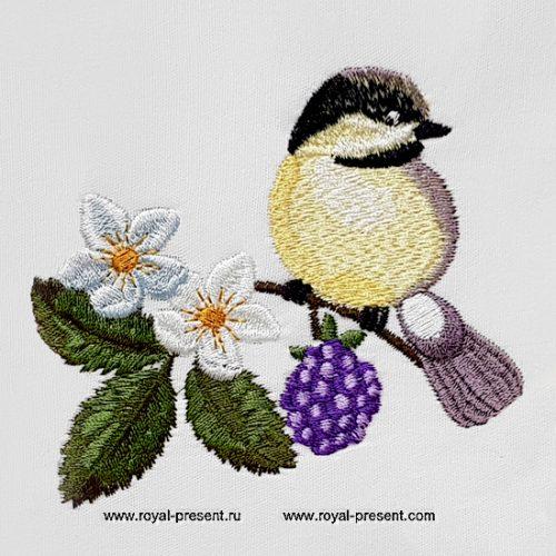 Дизайн машинной вышивки Птичка Синичка