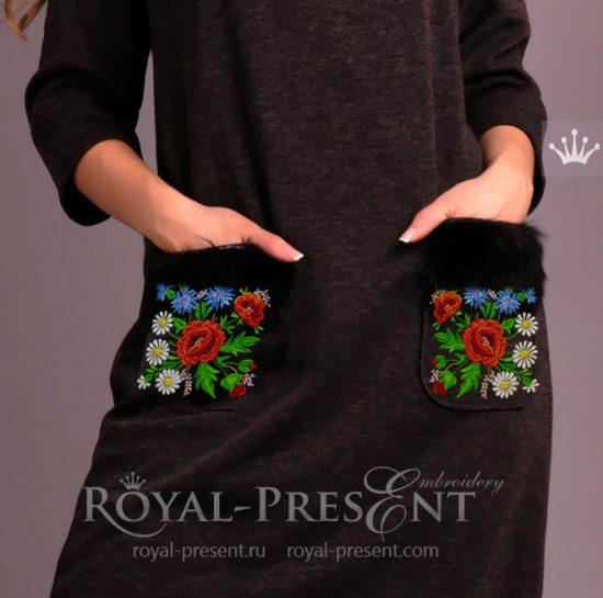 Дизайн машинной вышивки Эстонский узор с маками