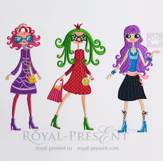 Дизайны машинной вышивки Модные Девочки