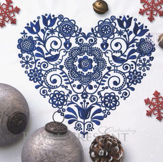 Дизайн машинной вышивки Скандинавский узор сердце