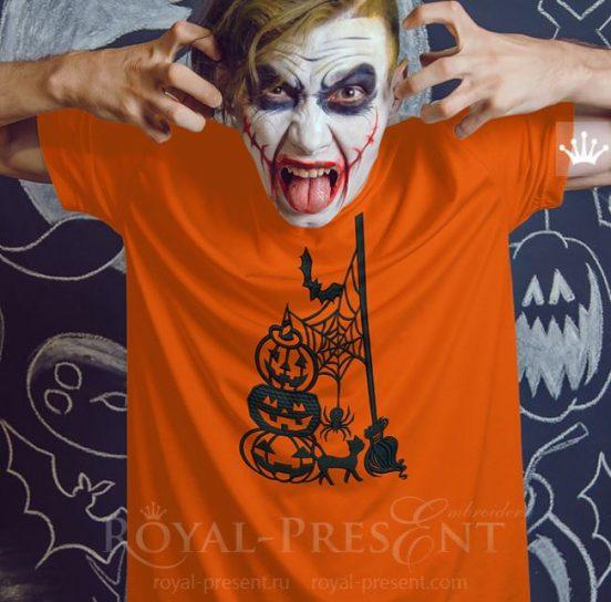Силуэтный Дизайн машинной вышивки Нечисть Хэллоуина