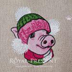 Дизайн машинной вышивки Новогодняя Свинья