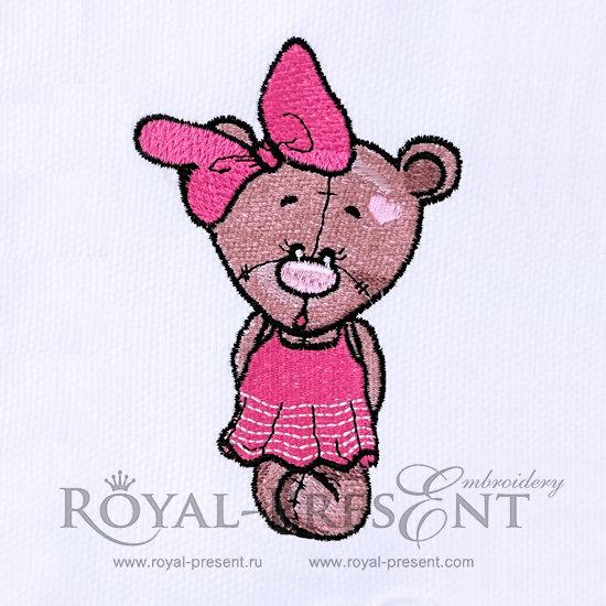 Дизайн машинной вышивки Девочка Медвежонок