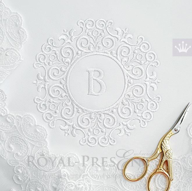 Маленькая свадебная рамка Дизайн машинной вышивки