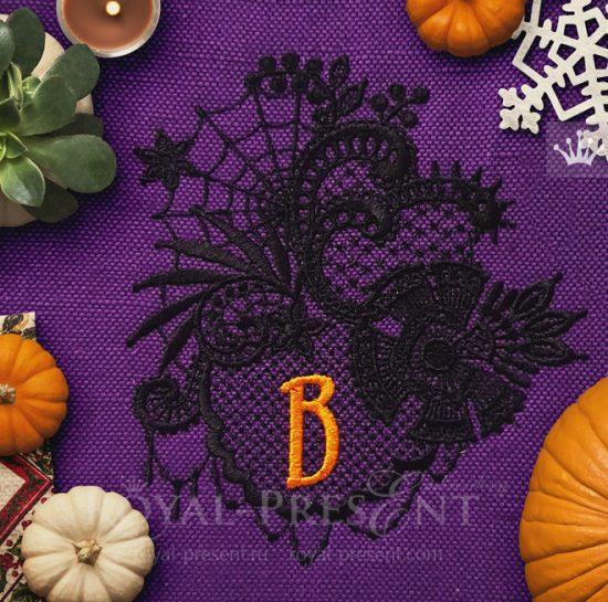 Кружевной Дизайн машинной вышивки Хеллоуин