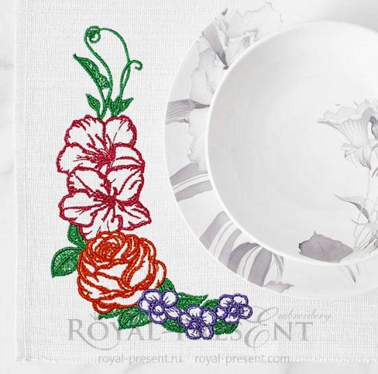 Бесплатный дизайн машинной вышивки Садовые Цветы