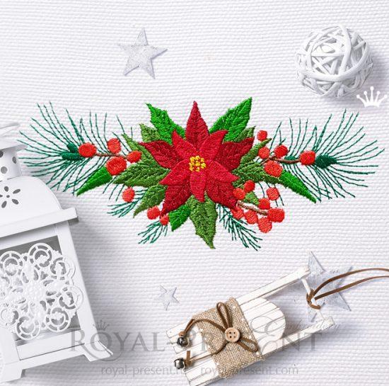Новогодний Дизайн машинной вышивки Бордюр