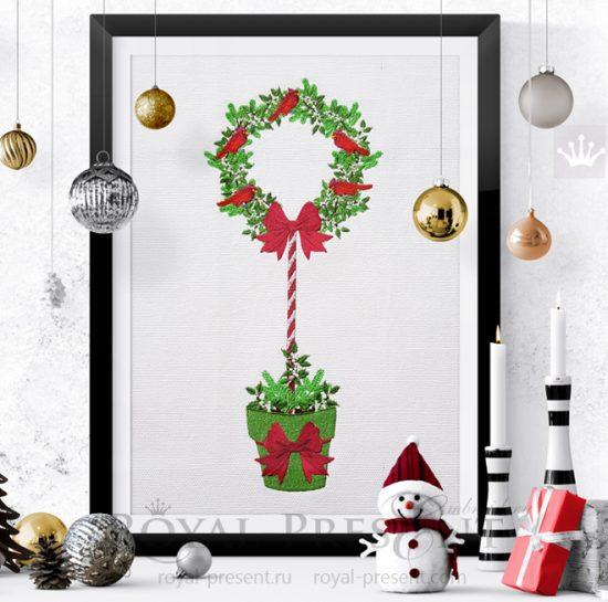 Дизайн машинной вышивки Новогоднее дерево со Снегирями