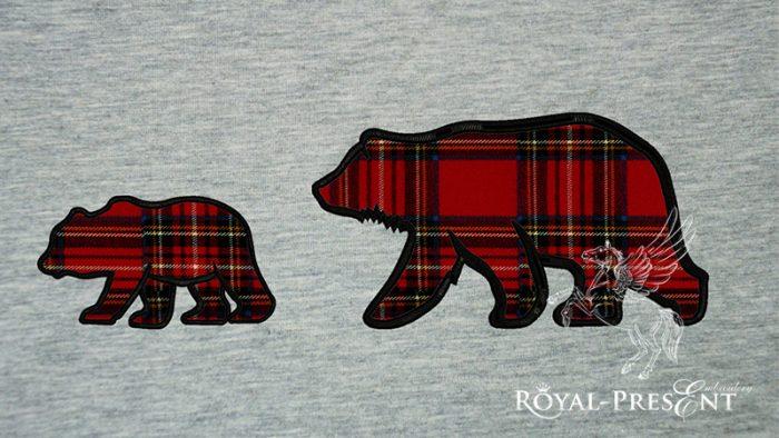 Аппликация для машинной вышивки Медведица и Медвежонок