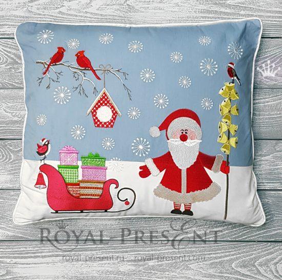 Дизайны машинной вышивки для новогодней подушки