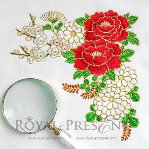 Угловой Дизайн машинной вышивки Пионы и хризантемы