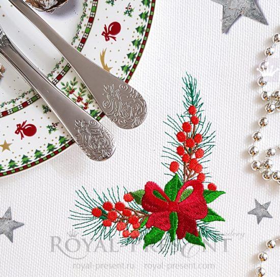 Угловой Новогодний Дизайн машинной вышивки с бантом