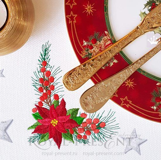 Угловой Новогодний Дизайн машинной вышивки с Пуансетией