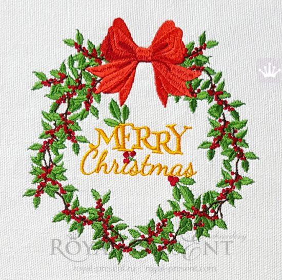 Дизайн машинной вышивки Рождественский венок с ягодами