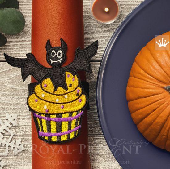 Дизайн машинной вышивки Кекс Хэллоуин Летучая Мышь