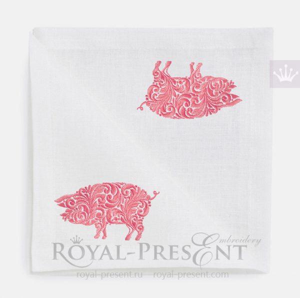 Дизайн машинной вышивки Орнаментальная Свинья