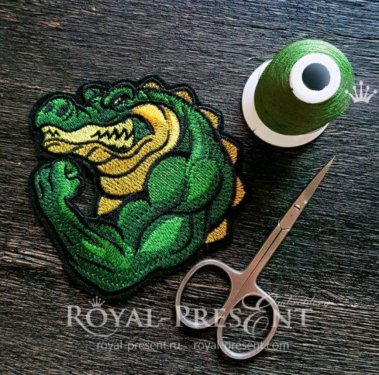 Дизайн машинной вышивки Крокодил Бодибилдер