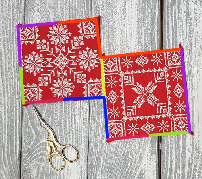 Порядок сшивания мы обозначили разными цветами