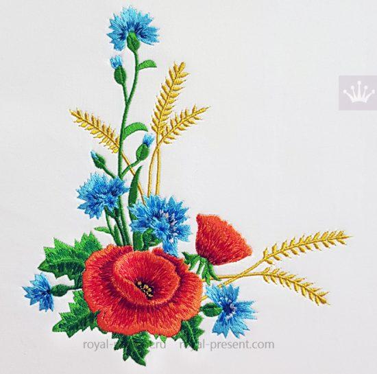 Угловой дизайн машинной вышивки Букет Маки и Васильки