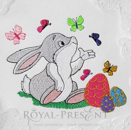 Дизайн машинной вышивки Кролик с бабочками