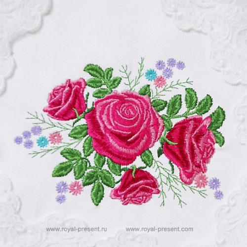 Дизайн машинной вышивки букет садовых роз
