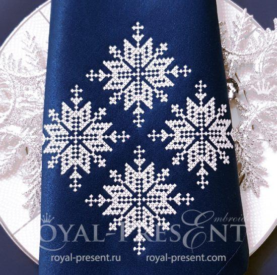Скандинавские Снежинки Дизайн машинной вышивки крестом