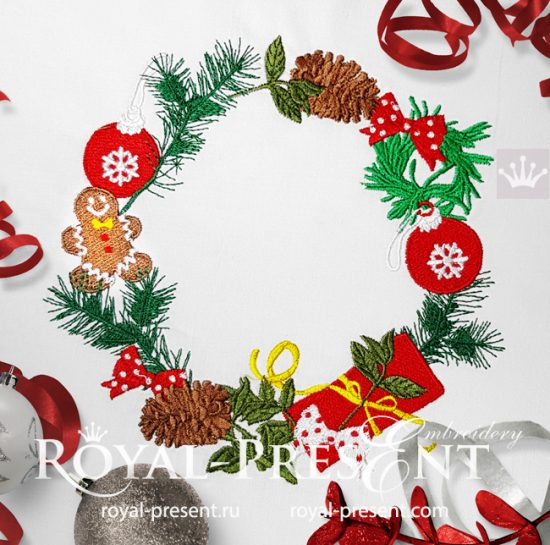 Дизайн машинной вышивки Новогодний венок с Пряником
