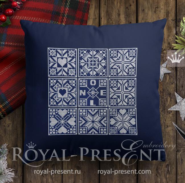 Норвежские новогодние дизайны машинной вышивки крестом