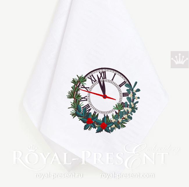 Дизайн машинной вышивки Новогодние Часы