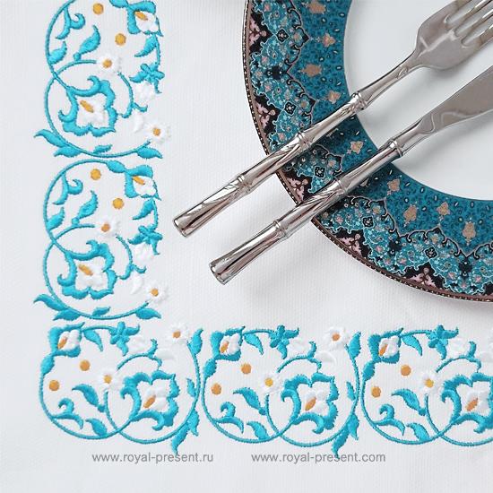 Восточный Дизайн машинной вышивки для бордюра