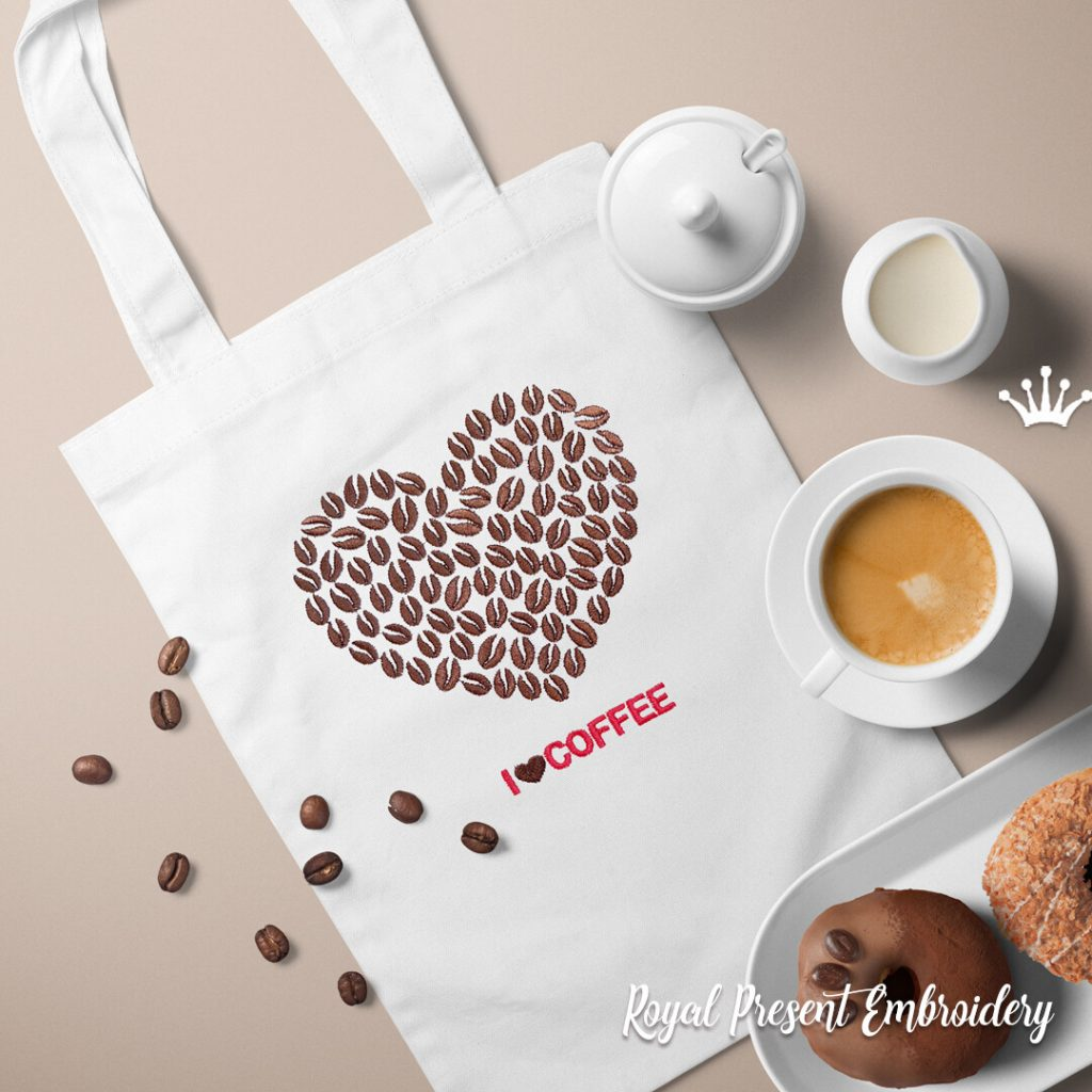 Сердце из кофе с надписью Дизайн машинной вышивки - 4 размера